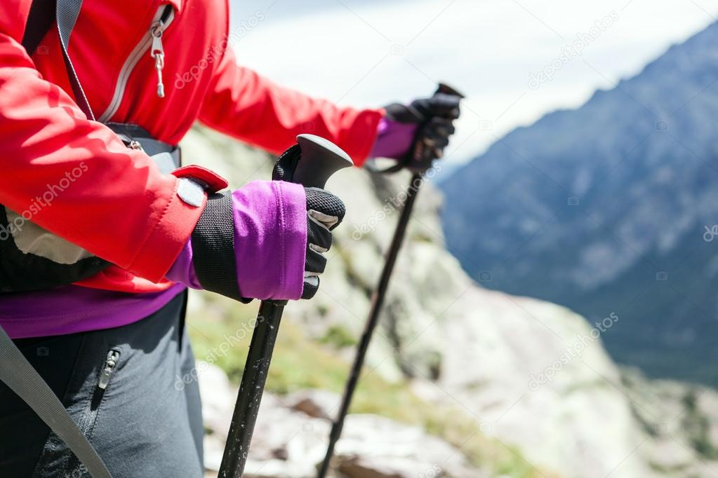Nordic walking hands in high mountains