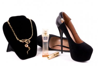Female fashionable new shoes and necklaces