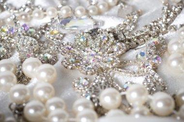 Jewelry background. Many beautiful jewelery