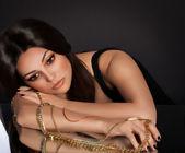 Fotografie Woman with jewelry precious decorations.