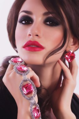 Portrait of woman with jewelry and makeup