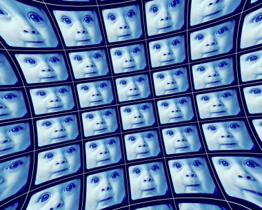 Distorted blue video screens showing the face of a baby