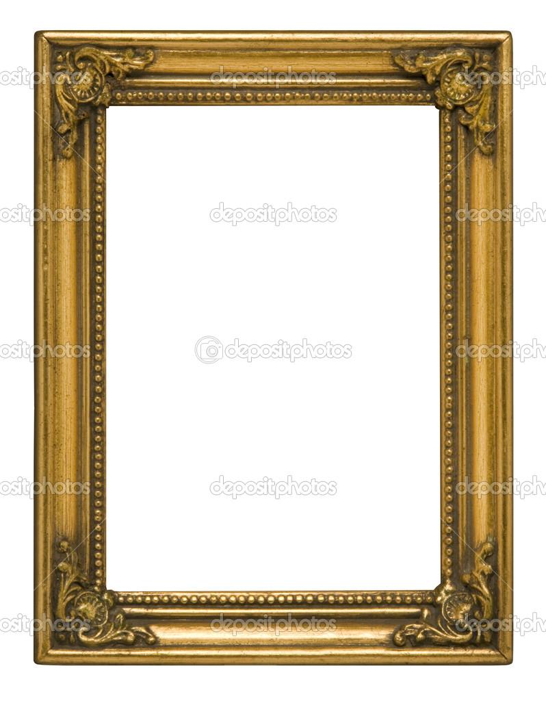 antiguo oro vertical marco contra blanco — Foto de stock © Balefire9 ...
