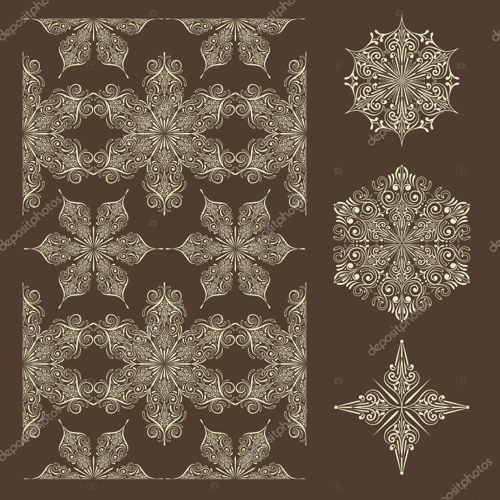 Vector Seamless Winter Pattern and Snowflake Design Elements