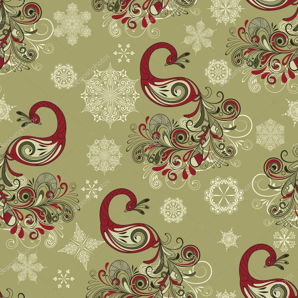 Vector Seamless Winter Pattern with Peacocks and Snowflakes