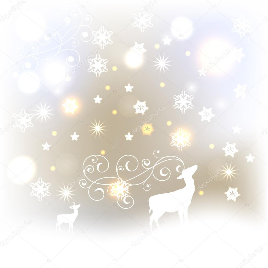 Vector Winter Background with Deers, Stars, and Snowflakes