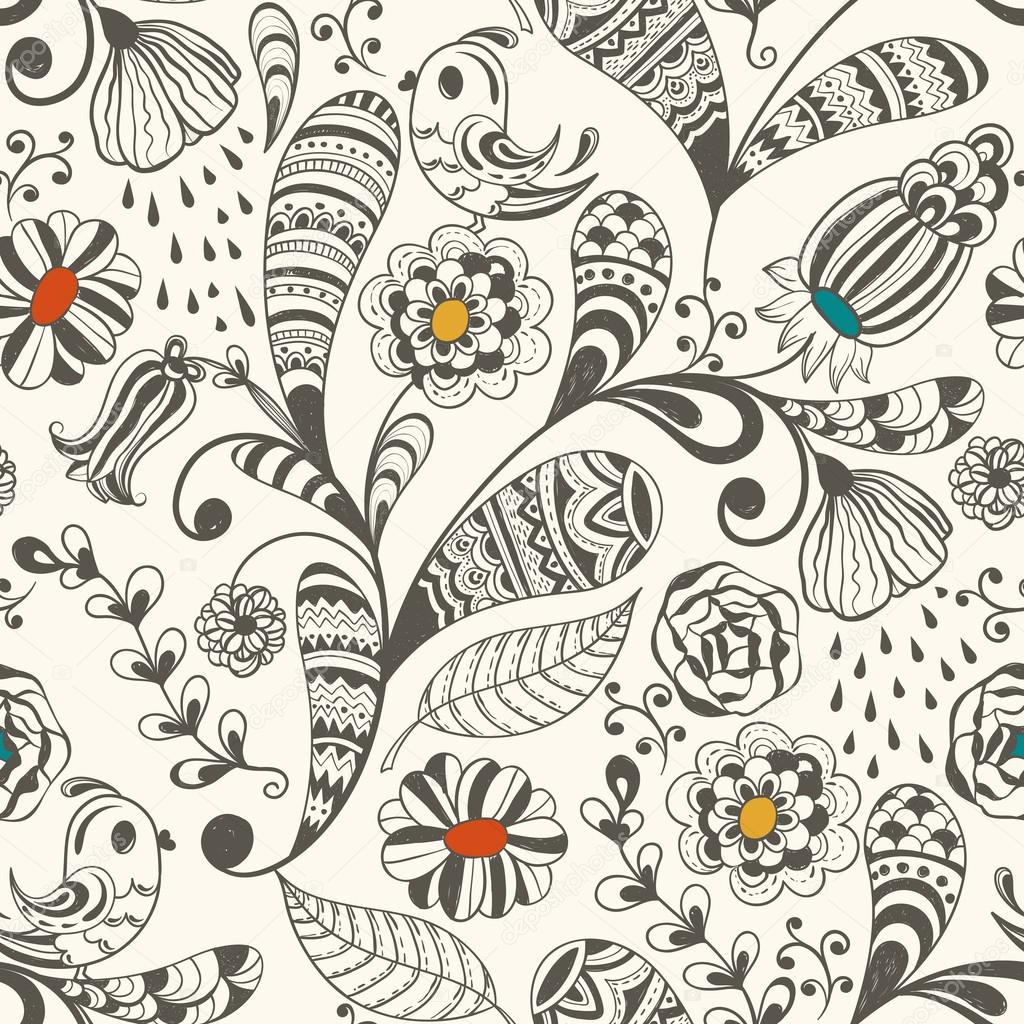 The wallpaper coloring book - Spring Vector Seamless Wallpaper Pattern Stock Vector