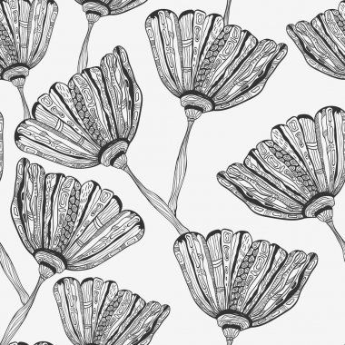 Vector Seamless Pattern with Bizarre Flowers