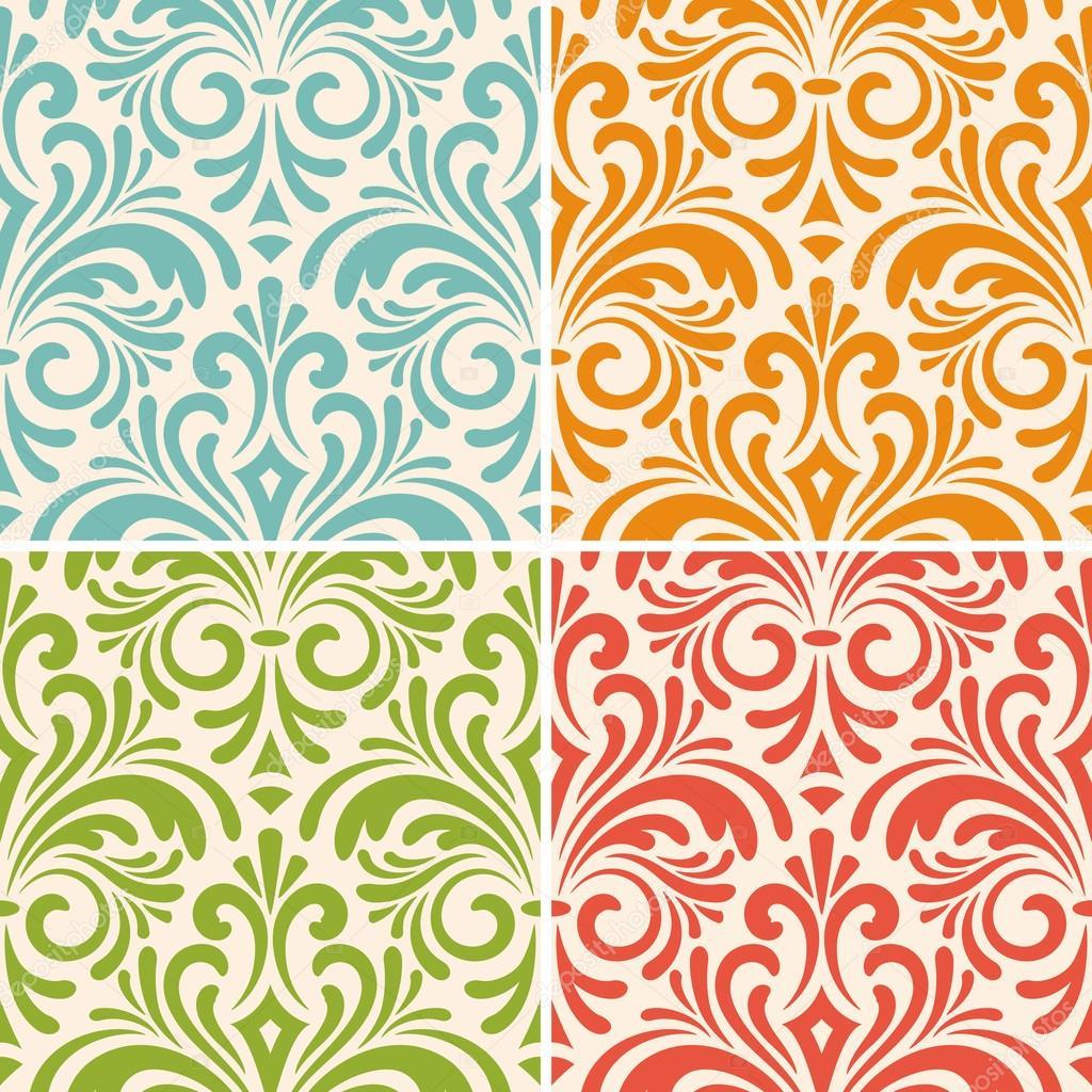 vector seamless floral vintage patterns
