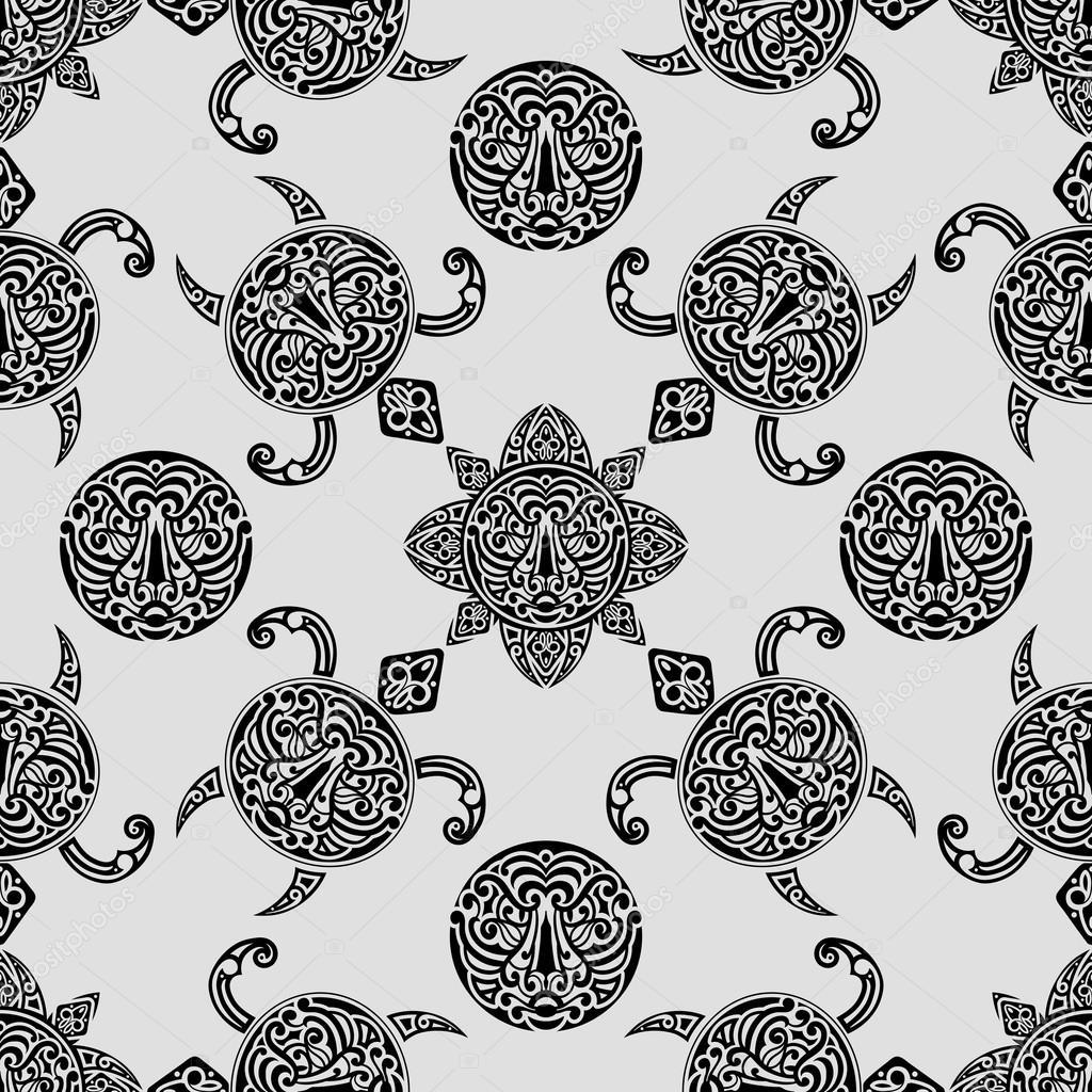 patrón sin costuras Vector con símbolos polinesios — Archivo ...