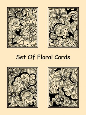 Vector Seamless Doodle Floral Cards