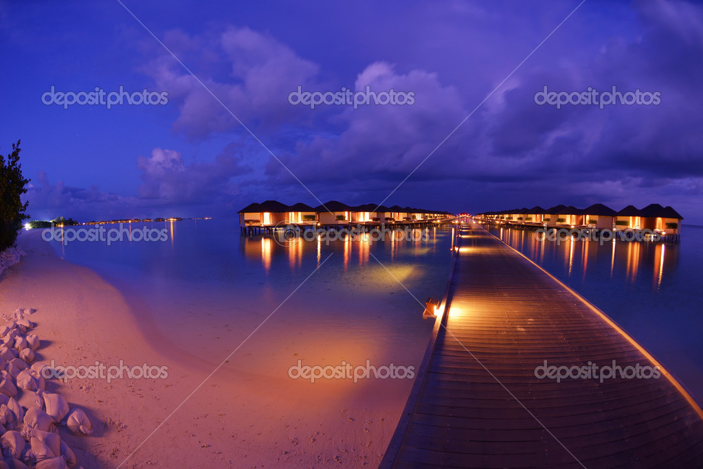 Tropical Beach Nature Landscape At Night With Houses Photo By Shock