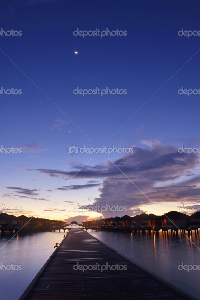 Tropical Beach Landscape At Night Stock Photo