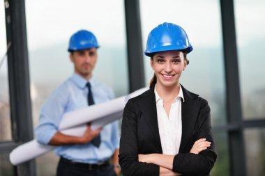 Businesswoman in helmet