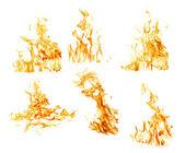 Photo set of six orange flames isolated on white