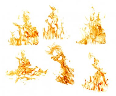 set of six orange flames isolated on white