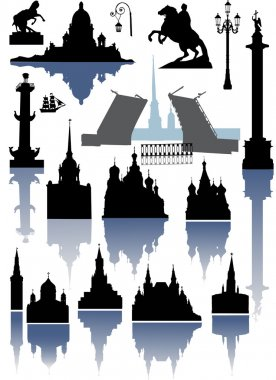 Illustration with Saint-Petersburg and Moscow silhouettes collection clip art vector