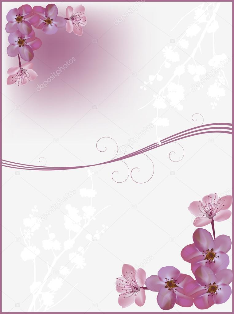 esquinas de las flores de cerezo oscuro — Vector de stock © Dr.PAS ...