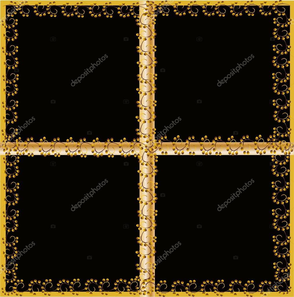 cuatro partes abstracta marco dorado — Vector de stock © Dr.PAS ...