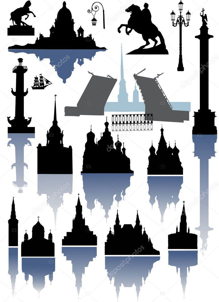 Saint-Petersburg and Moscow silhouettes collection