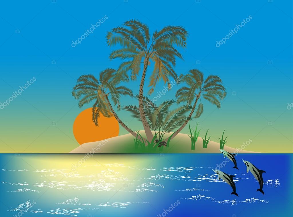 three dolphins near island