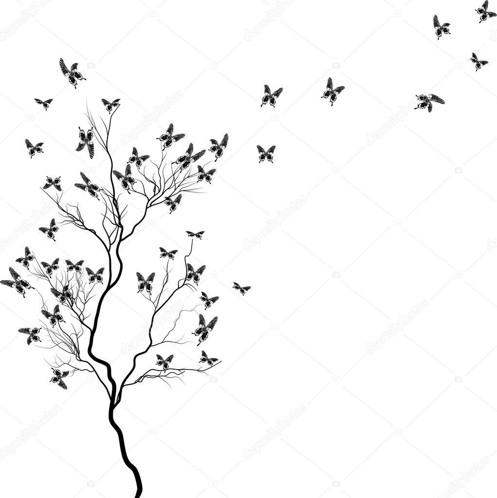 Stock Vector Dr Pas 6261329: árbol Con Mariposas Negras
