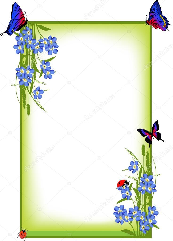 marco con resorte azul flores y mariposas — Archivo Imágenes ...
