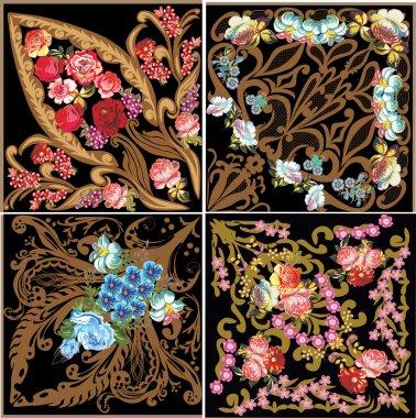 four flower square decorations