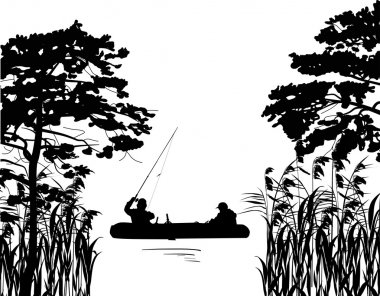 fishermen in boat silhouette between trees