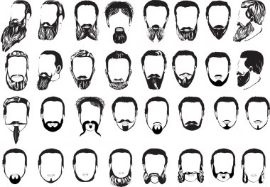 set of thirty two men beards