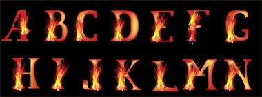 flame letters on black illustration