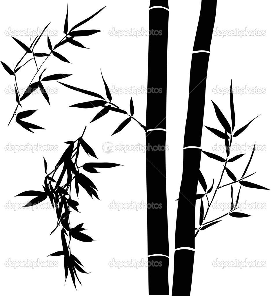 Schwarze Abbildung Mit Bambus Zweige Sammlung Stockvektor C Dr Pas