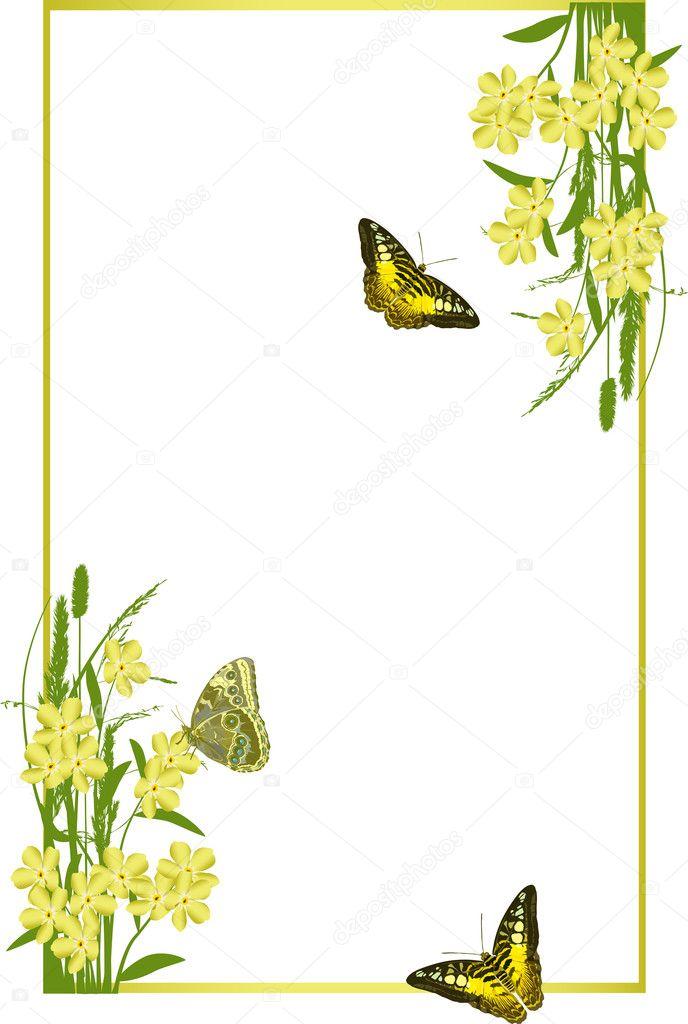 marco con resorte amarillo flores y mariposas — Archivo Imágenes ...