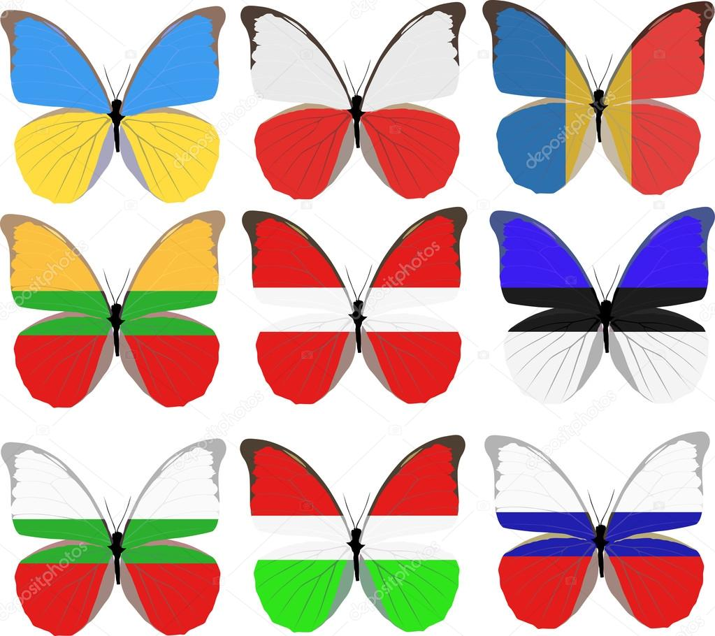 set of nine butterflies colored in national flags u2014 stock vector