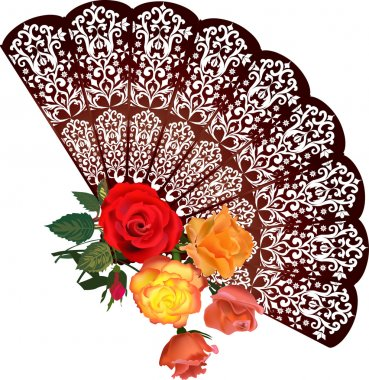 brown fan and rose flower