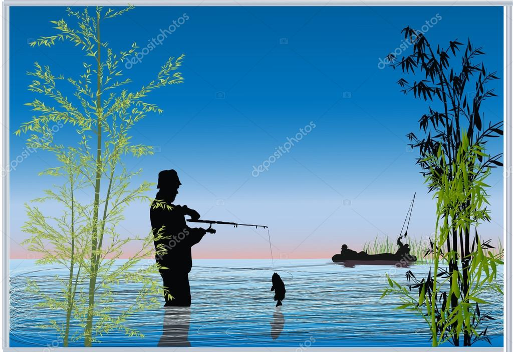 fishermen in blue lake illustration