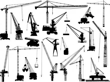 twenty building cranes on white