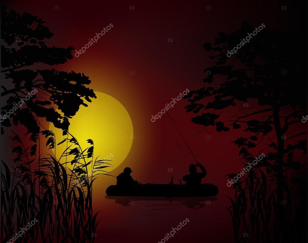 fishermen in boat at dark sunset