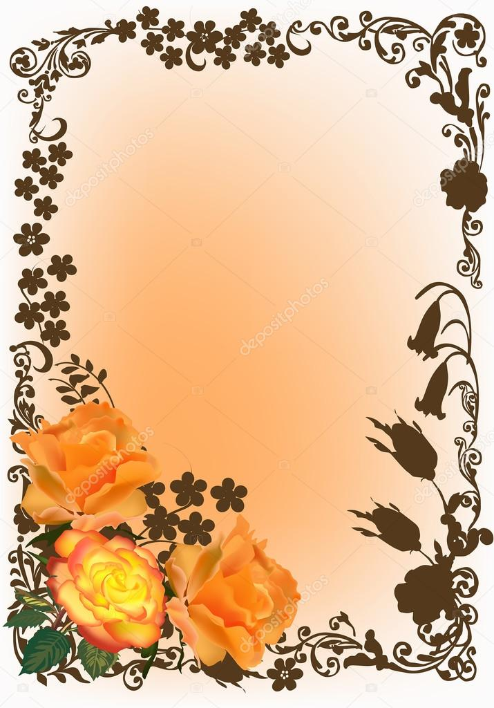 orange roses in brown decorated frame — Stock Vector © Dr.PAS #34799063