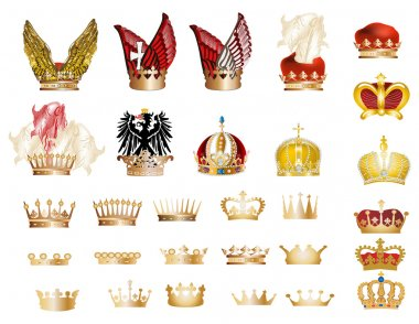 large set of gold crowns
