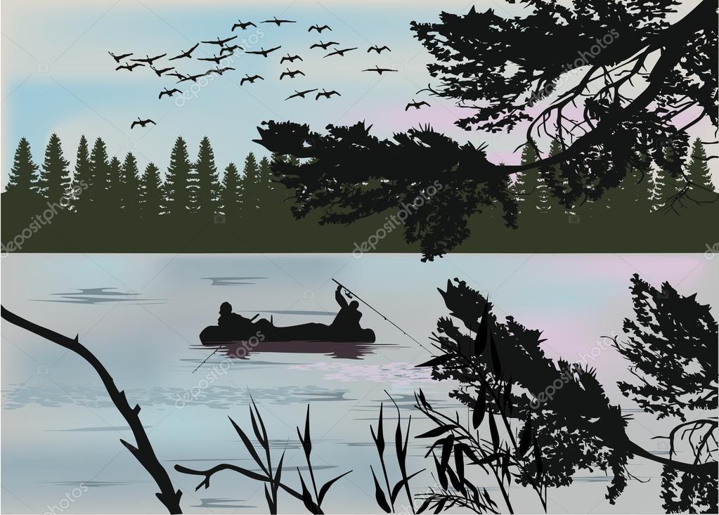 fishermen in boat dark silhouette