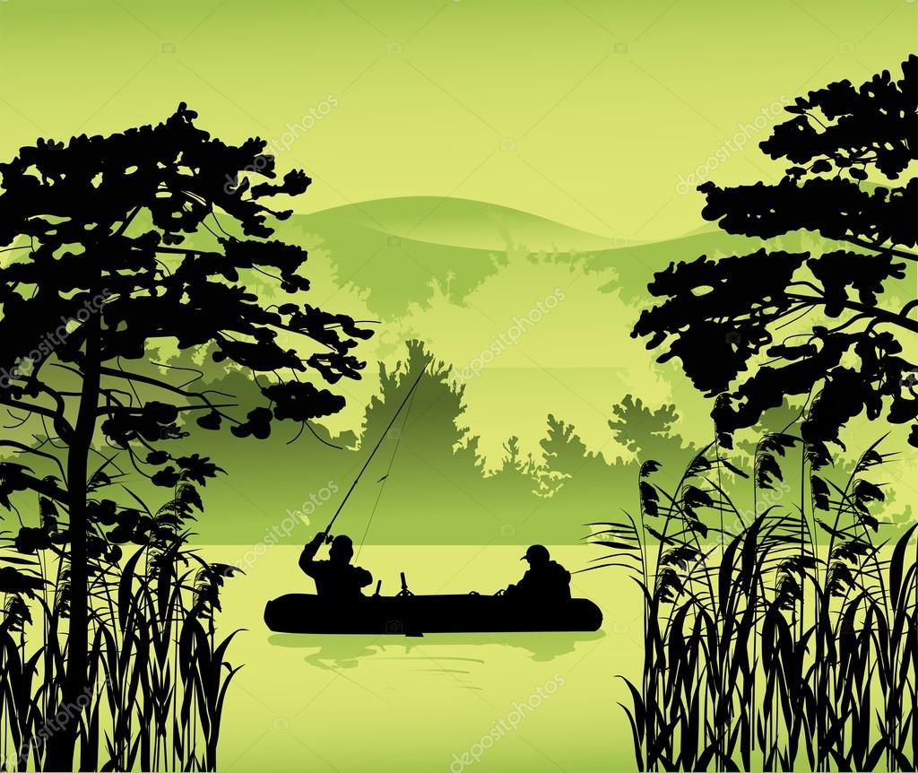 fishermen in boat between trees