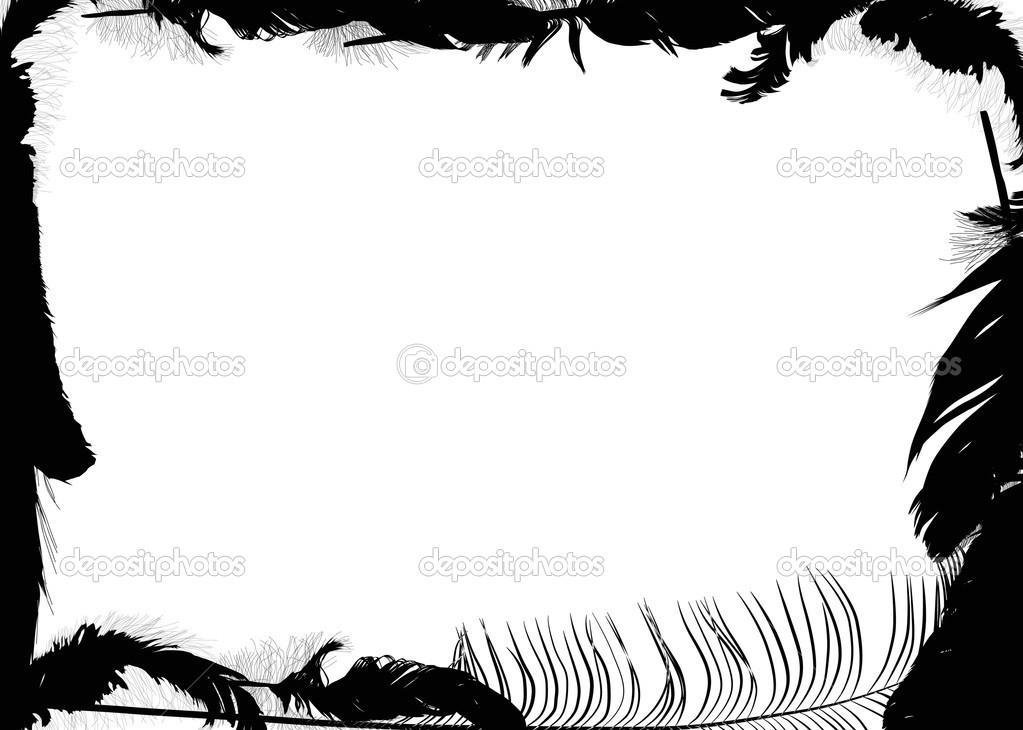 Cadre de plume noire isol sur fond blanc image - Cadre avec photo noir et blanc ...
