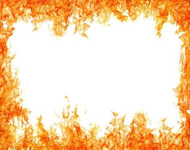 bright isolated on white orange flame frame