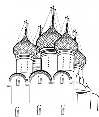isolated on white orthodox church sketch