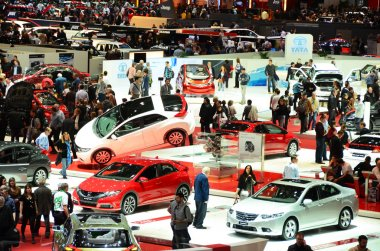 GENEVA - MARCH 12: Various makes and models of cars are on displ
