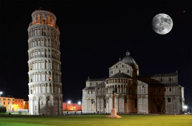 Basilica and the Leaning Tower on the Piazza dei Miracoli in Pis