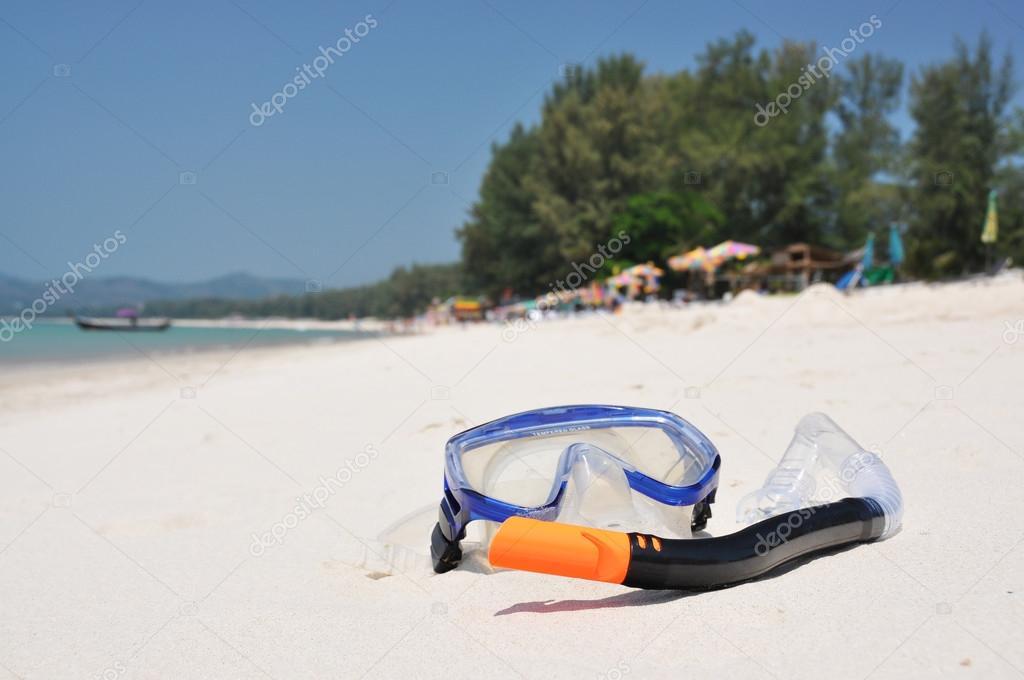 Snorkeling set on Bangtao beach of Phuket island