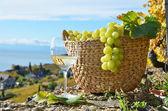 borospohár és a kosár szőlőt. régióban Lavaux, Svájc