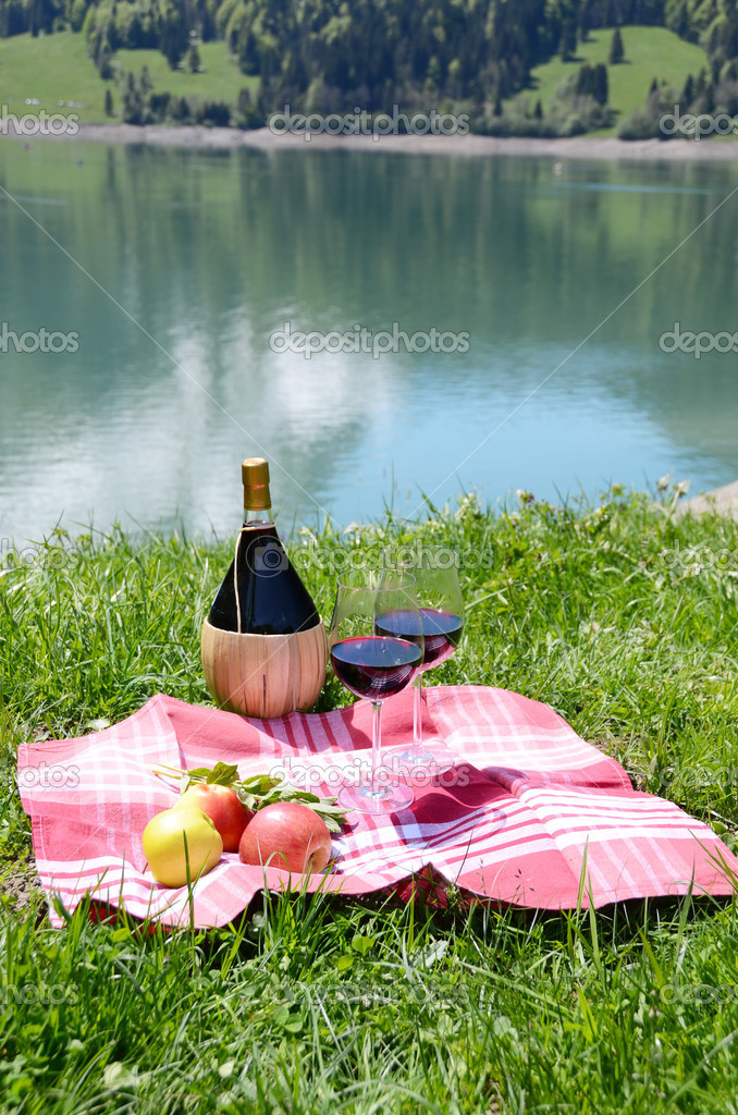 Picnic in Alpine meadow